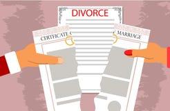 Scheidungsdokumente, welche die Beziehungen abbrechen Stockbild
