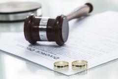 Scheidungsverordnungsform mit Ring stockbild