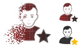 Schein-Dot Halftone User Rating Star-Ikone mit Gesicht Lizenzfreie Abbildung