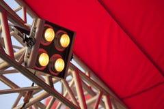 Scheinwerfer auf den industriellen Strahlen Lizenzfreie Stockbilder