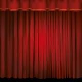 Scheinwerfer auf einem roten Hauptvorhang Lizenzfreie Stockfotografie