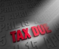 Scheinwerfer auf Steuerschuld-Abgabefrist Stockfotografie
