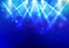Scheinwerfer, die Discoparteistadium mit blured bokeh auf Blau beleuchten lizenzfreie abbildung