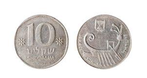Schekel mit 10 israelischer Münzen Getrennte Nachricht auf einem weißen Hintergrund Stockfotografie