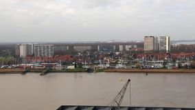 Schelde river with skyline in Antwerp stock video footage
