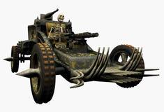 Scheletro che guida una macchina di guerra - include il percorso di residuo della potatura meccanica Fotografia Stock Libera da Diritti