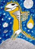Scheletro del dinosauro di fantasia e spazio, grafici Immagine Stock
