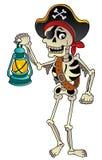 Scheletro del pirata con la lanterna Immagini Stock Libere da Diritti