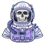 Scheletro dell'astronauta di animazione in una tuta spaziale illustrazione vettoriale