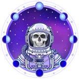Scheletro dell'astronauta di animazione in una tuta spaziale r illustrazione di stock