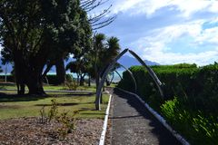 Scheletro della balena, Kaikoura, Nuova Zelanda immagini stock