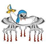 Scheletro dello zombie del pirata Fotografie Stock