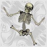 Scheletro di dancing il vettore del disegno della mano ha dettagliato illustrazione vettoriale