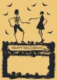 Scheletro di dancing su fondo giallo Fotografia Stock