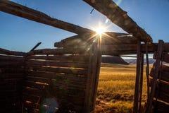 Scheletro di vecchia fattoria del Wyoming Fotografie Stock