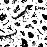 Scheletro e fossili del dinosauro Vector il reticolo senza giunte royalty illustrazione gratis