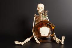 Scheletro umano con il cognac, bottiglia del brandy Fotografia Stock