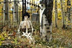 Scheletro in un cimitero 4 Fotografie Stock