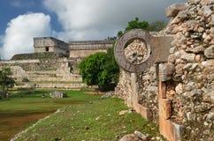 Schellen Sie Mayakugelspiel in der alten Stadt von Uxmal Lizenzfreie Stockbilder