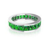 Schellen Sie mit grüner Diamantprinzessin auf weißem Hintergrund Stockfoto