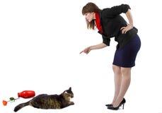 Schelten einer Katze Lizenzfreie Stockfotos