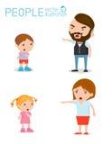 Schelten Sie die Kinder, Vater und Mutter, die unglücklichen Jungen schelten Stockfoto