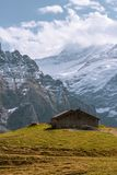 Schelter in the mountain with mountain background royalty free stock image