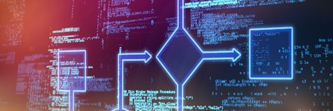Composite image of schema. Schema  against blue codes Royalty Free Stock Photo