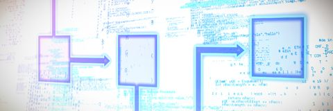 Composite image of schema. Schema against blue codes Stock Photography