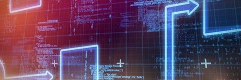 Composite image of schema. Schema against blue matrix and codes Stock Image