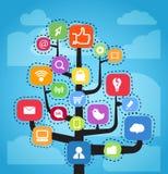 Schema astratto di media sociali illustrazione vettoriale