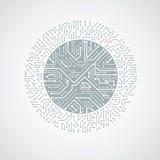 Schema cibernetico futuristico, scheda madre di vettore in bianco e nero illustrazione di stock