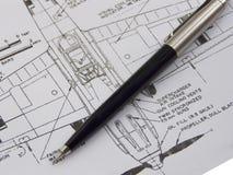 Schema con la penna Fotografie Stock Libere da Diritti