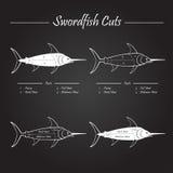 Schema dei tagli di carne del pesce spada Fotografia Stock Libera da Diritti