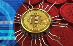 schema del chip del bitcoin 3d Fotografia Stock Libera da Diritti