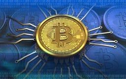 schema del chip del bitcoin 3d Illustrazione Vettoriale