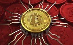 schema del chip del bitcoin 3d Royalty Illustrazione gratis