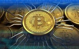schema del chip del bitcoin 3d Immagine Stock