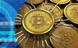 schema del chip del bitcoin 3d Fotografie Stock