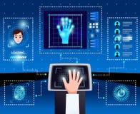 Schema dell'interfaccia di tecnologie dell'identificazione illustrazione di stock