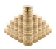 Schema delle monete isolato su bianco Immagini Stock Libere da Diritti