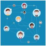 Schema di interazione del collegamento di rete sociale - illustrazione piana di stile di vettore semplice Immagini Stock Libere da Diritti