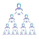 Schema di lavoro della piramide finanziaria Programma di rinvio Fotografia Stock Libera da Diritti