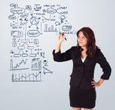 Schema ed icone di affari del disegno della donna sul whiteboard Immagini Stock Libere da Diritti