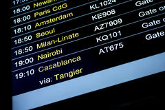 Schema för information om avvikelseflyg i internationell flygplats Royaltyfri Foto