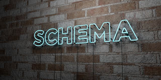 SCHEMA - Glowing Neon Sign on stonework wall - 3D rendered royalty free stock illustration Royalty Free Stock Photography