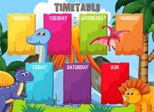 Schema med den färgglade dinosauriemallen royaltyfri illustrationer