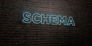 SCHEMA -Realistic Neon Sign on Brick Wall background - 3D rendered royalty free stock image Stock Images