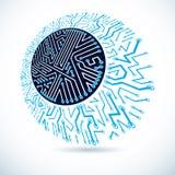 Schema rotondo cibernetico futuristico, illustrazione della scheda madre di vettore Elemento di Digital illustrazione vettoriale