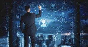 Schema sociale del collegamento di media del disegno dell'uomo d'affari Immagine Stock